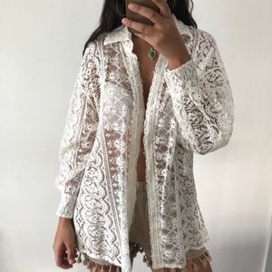 Vintage DKNY union made lace cream blouse